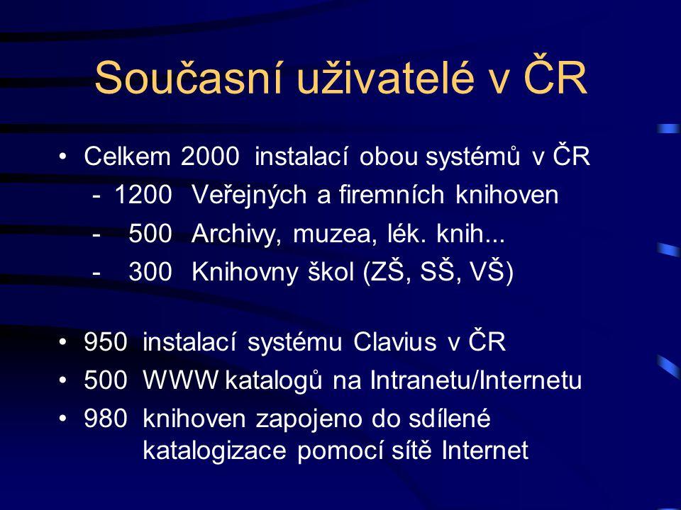 Současní uživatelé v ČR Celkem 2000 instalací obou systémů v ČR -1200Veřejných a firemních knihoven - 500Archivy, muzea, lék. knih... - 300Knihovny šk