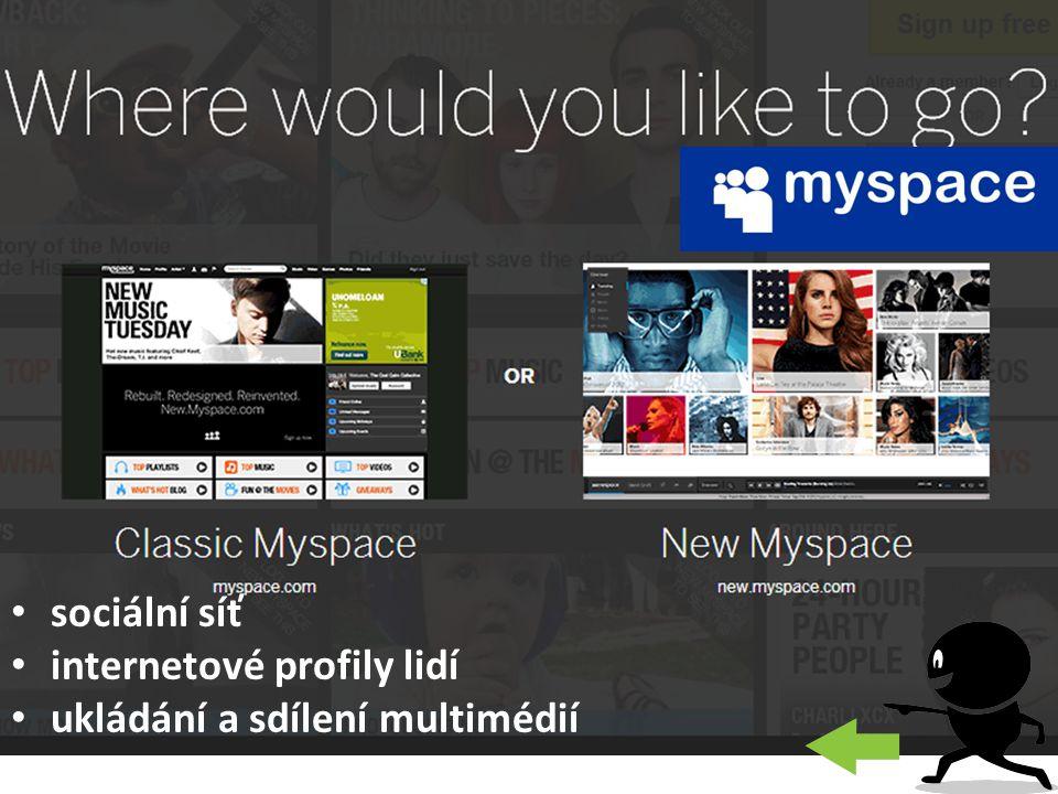 sociální síť internetové profily lidí ukládání a sdílení multimédií