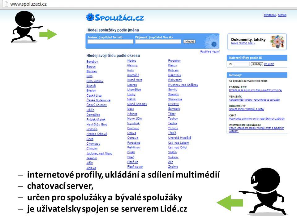 – internetové profily, ukládání a sdílení multimédií – chatovací server, – určen pro spolužáky a bývalé spolužáky – je uživatelsky spojen se serverem Lidé.cz