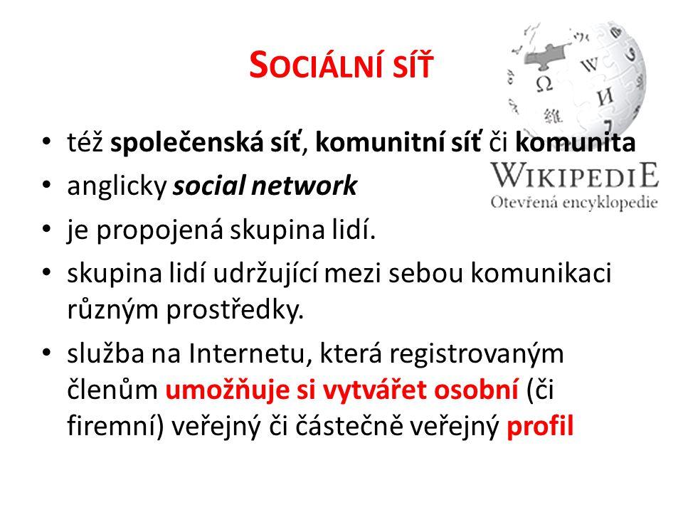 S OCIÁLNÍ SÍŤ též společenská síť, komunitní síť či komunita anglicky social network je propojená skupina lidí.