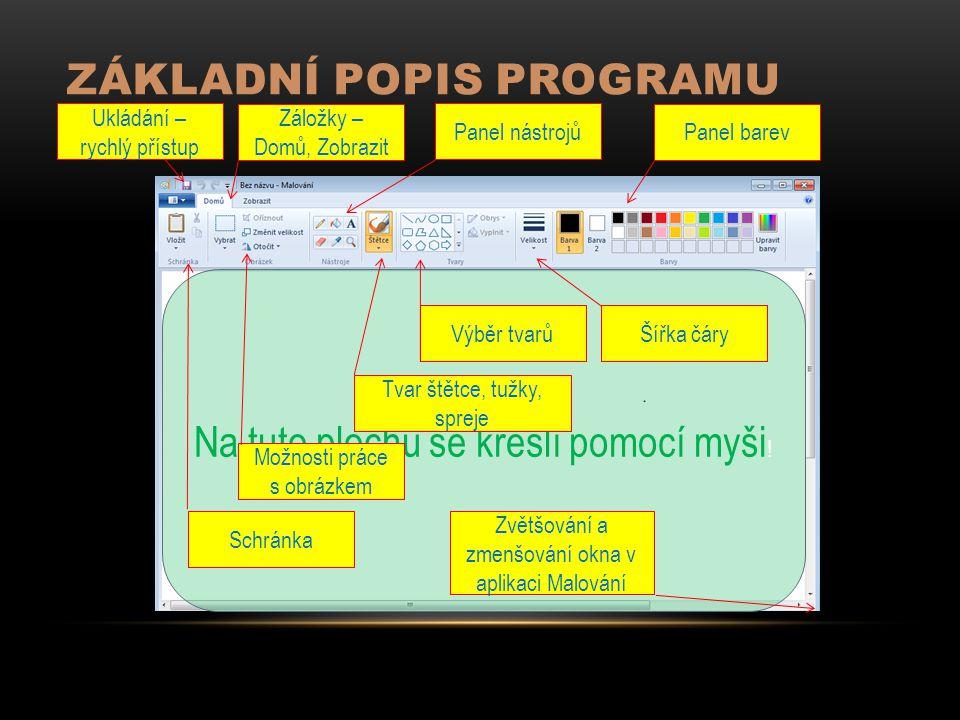 ZÁKLADNÍ POPIS PROGRAMU Záložky – Domů, Zobrazit Ukládání – rychlý přístup Panel nástrojů Panel barev Na tuto plochu se kreslí pomocí myši ! Výběr tva