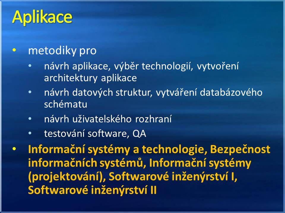 metodiky pro návrh aplikace, výběr technologií, vytvoření architektury aplikace návrh datových struktur, vytváření databázového schématu návrh uživatelského rozhraní testování software, QA Informační systémy a technologie, Bezpečnost informačních systémů, Informační systémy (projektování), Softwarové inženýrství I, Softwarové inženýrství II