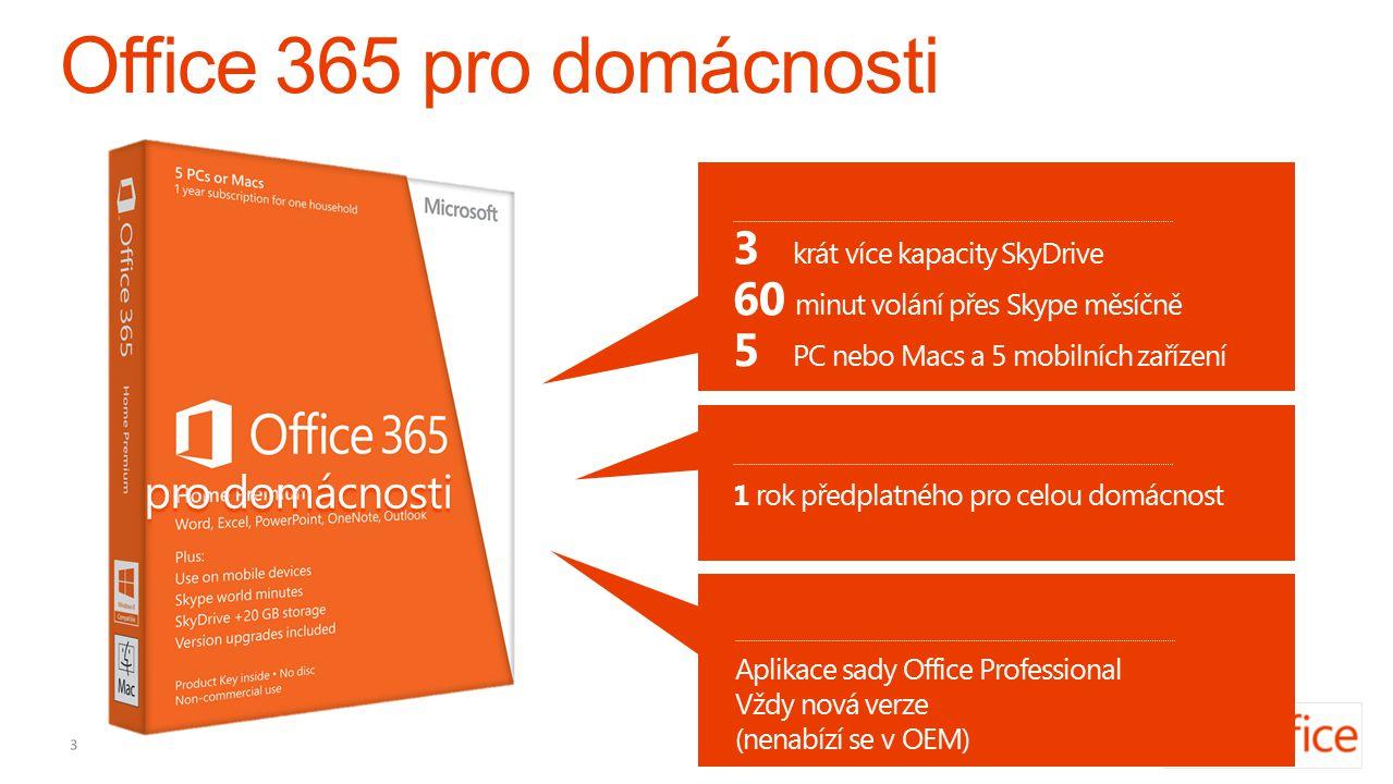 3 krát více kapacity SkyDrive 5 PC nebo Macs a 5 mobilních zařízení 60 minut volání přes Skype měsíčně 1 rok předplatného pro celou domácnost Aplikace sady Office Professional Vždy nová verze (nenabízí se v OEM) pro domácnosti