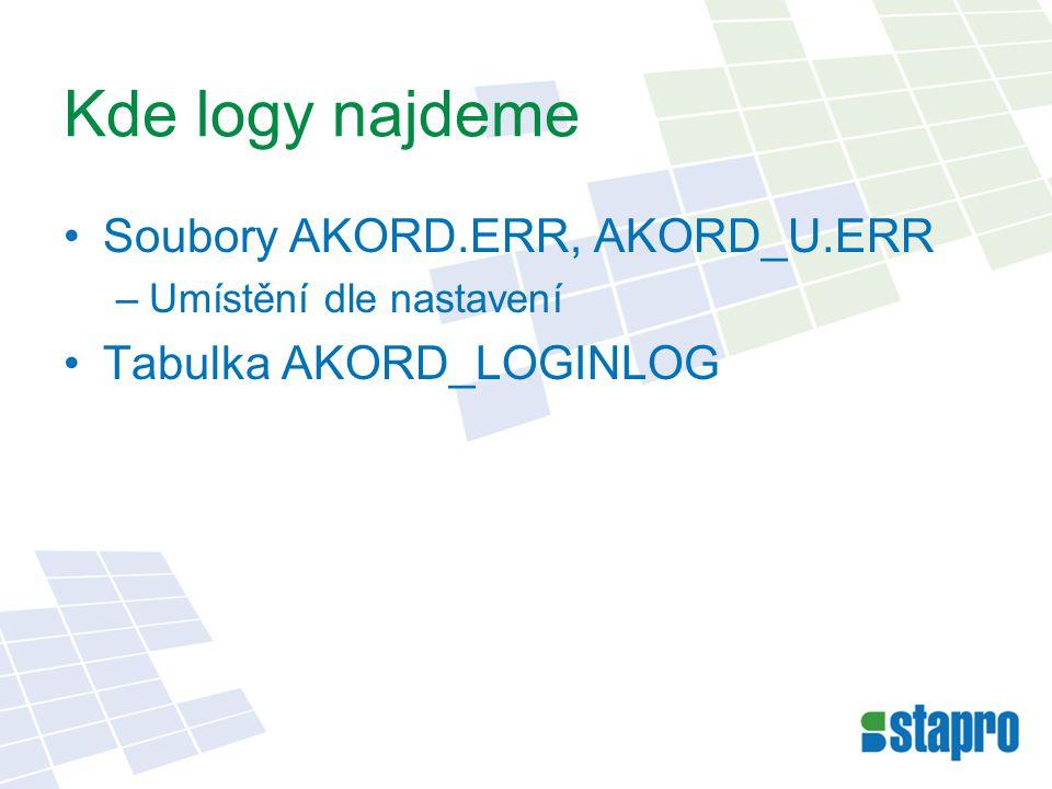 Jak se nastaví OBJ_INI sekce global ErrorLog – cesta a soubor –C:\AKORD\LOG\AKORD.ERR LadeniLog – cesta a soubor –\\server\databaze\skoleni\Ladeni\L%GJP%_%GDD%.