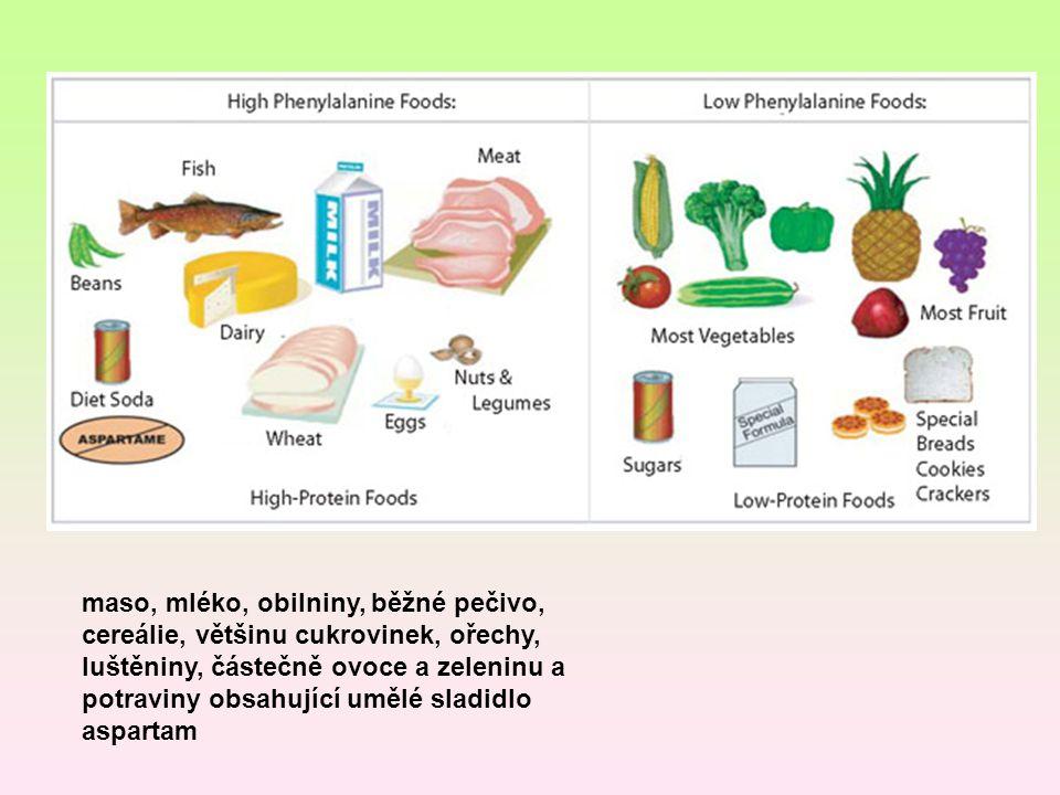 maso, mléko, obilniny, běžné pečivo, cereálie, většinu cukrovinek, ořechy, luštěniny, částečně ovoce a zeleninu a potraviny obsahující umělé sladidlo