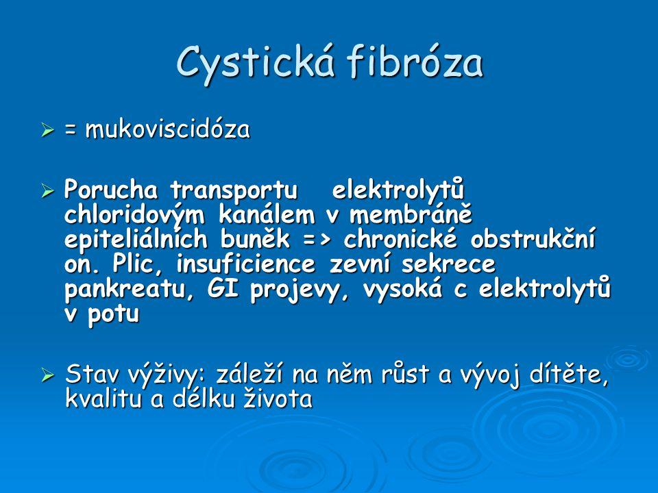Cystická fibróza  = mukoviscidóza  Porucha transportu elektrolytů chloridovým kanálem v membráně epiteliálních buněk => chronické obstrukční on.