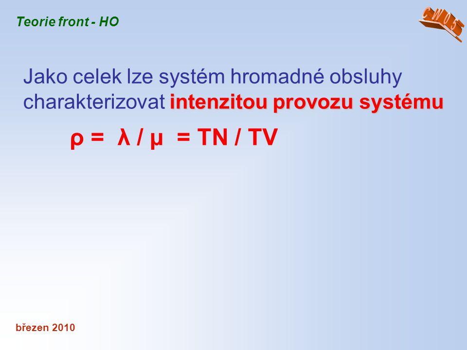 březen 2010 Teorie front - HO intenzitou provozu systému Jako celek lze systém hromadné obsluhy charakterizovat intenzitou provozu systému ρ = λ / μ =