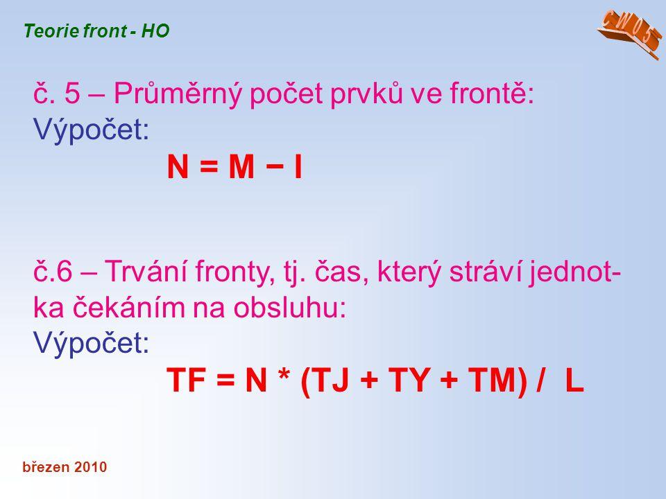 březen 2010 Teorie front - HO č. 5 – Průměrný počet prvků ve frontě: Výpočet: N = M − I č.6 – Trvání fronty, tj. čas, který stráví jednot- ka čekáním