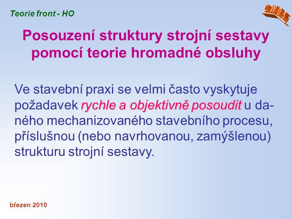 březen 2010 Teorie front - HO intenzitou provozu systému Jako celek lze systém hromadné obsluhy charakterizovat intenzitou provozu systému ρ = λ / μ = TN / TV