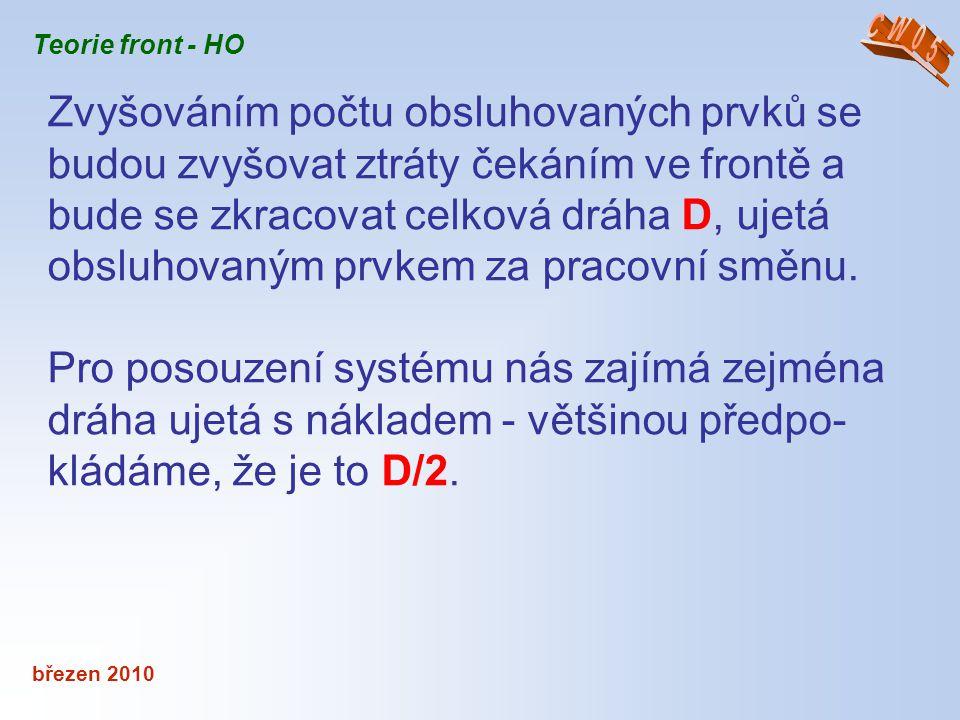 březen 2010 Teorie front - HO Zvyšováním počtu obsluhovaných prvků se budou zvyšovat ztráty čekáním ve frontě a bude se zkracovat celková dráha D, uje