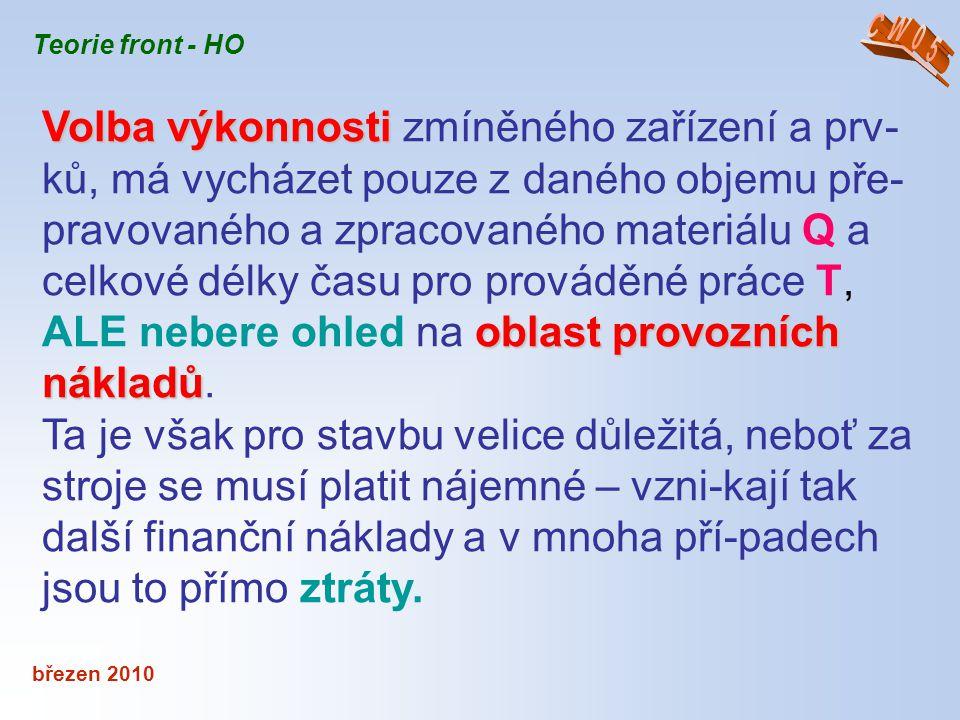 březen 2010 Teorie front - HO Volba výkonnosti oblast provozních nákladů Volba výkonnosti zmíněného zařízení a prv- ků, má vycházet pouze z daného obj