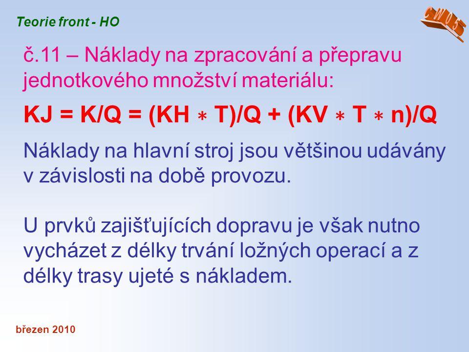 březen 2010 Teorie front - HO č.11 – Náklady na zpracování a přepravu jednotkového množství materiálu: KJ = K/Q = (KH ∗ T)/Q + (KV ∗ T ∗ n)/Q Náklady