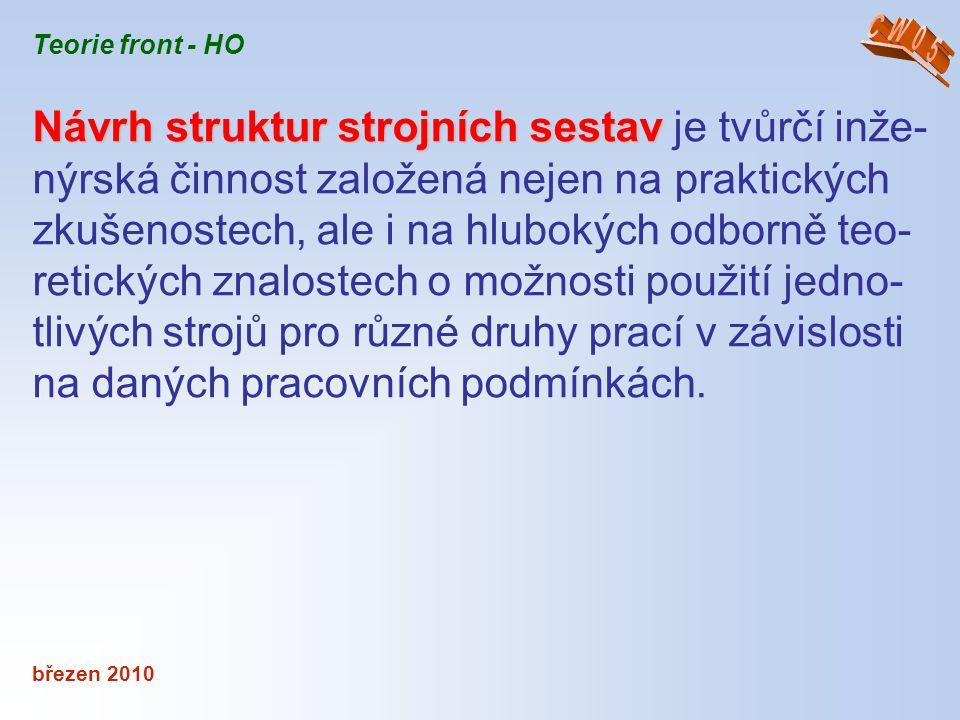 březen 2010 Teorie front - HO Návrh struktur strojních sestav Návrh struktur strojních sestav je tvůrčí inže- nýrská činnost založená nejen na praktic