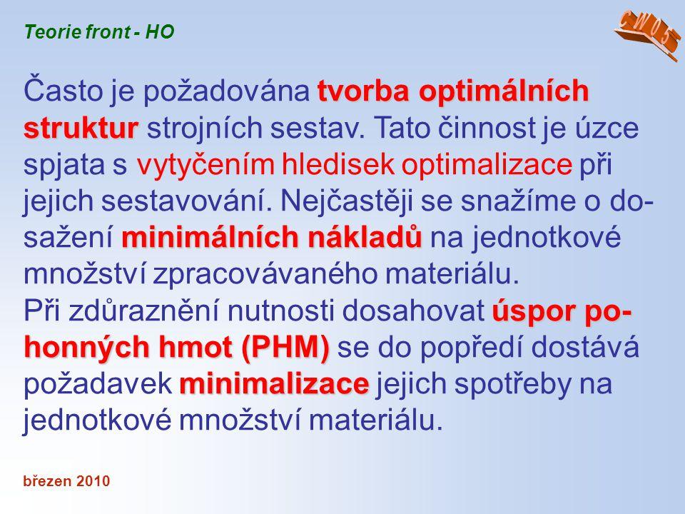 březen 2010 Teorie front - HO tvorba optimálních struktur minimálních nákladů Často je požadována tvorba optimálních struktur strojních sestav. Tato č