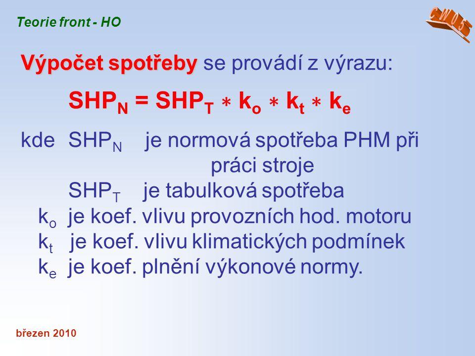 březen 2010 Teorie front - HO Výpočet spotřeby Výpočet spotřeby se provádí z výrazu: SHP N = SHP T ∗ k o ∗ k t ∗ k e kde SHP N je normová spotřeba PHM
