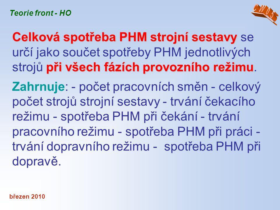 březen 2010 Teorie front - HO Celková spotřeba PHM strojní sestavy při všech fázích provozního režimu Celková spotřeba PHM strojní sestavy se určí jak