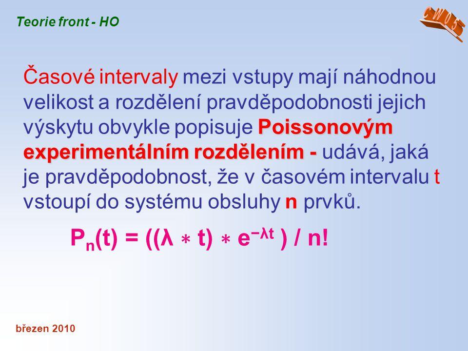 březen 2010 Teorie front - HO Poissonovým experimentálním rozdělením - Časové intervaly mezi vstupy mají náhodnou velikost a rozdělení pravděpodobnost