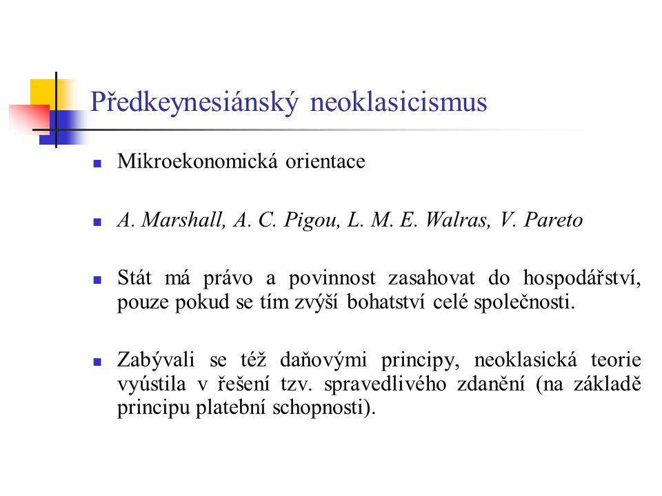 Předkeynesiánský neoklasicismus Mikroekonomická orientace A.