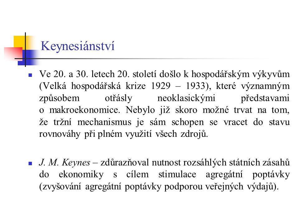 Keynesiánství Ve 20.a 30. letech 20.
