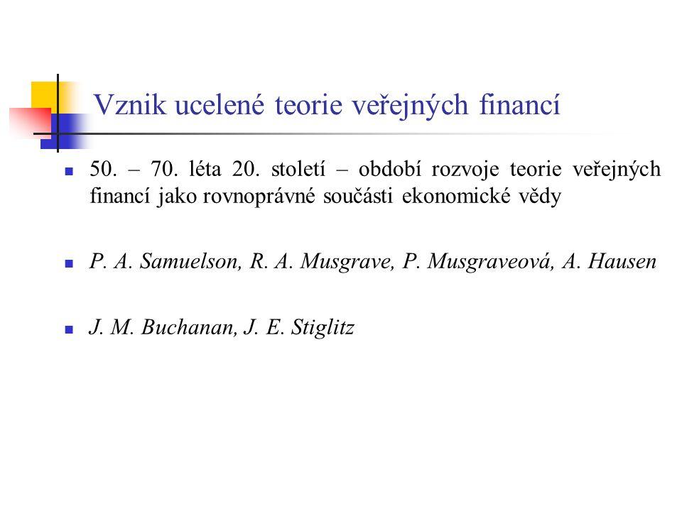 Vznik ucelené teorie veřejných financí 50.– 70. léta 20.