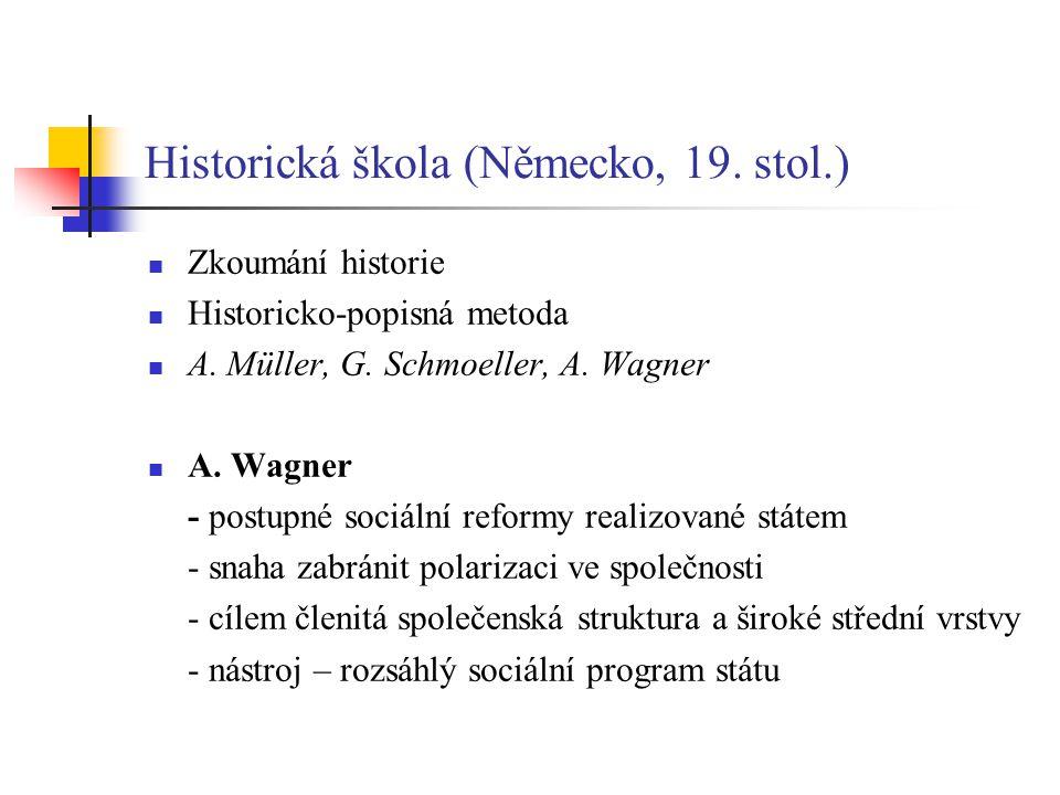 Historická škola (Německo, 19.stol.) Zkoumání historie Historicko-popisná metoda A.