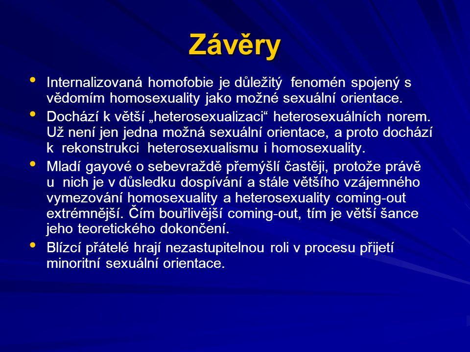 """Závěry Internalizovaná homofobie je důležitý fenomén spojený s vědomím homosexuality jako možné sexuální orientace. Dochází k větší """"heterosexualizaci"""