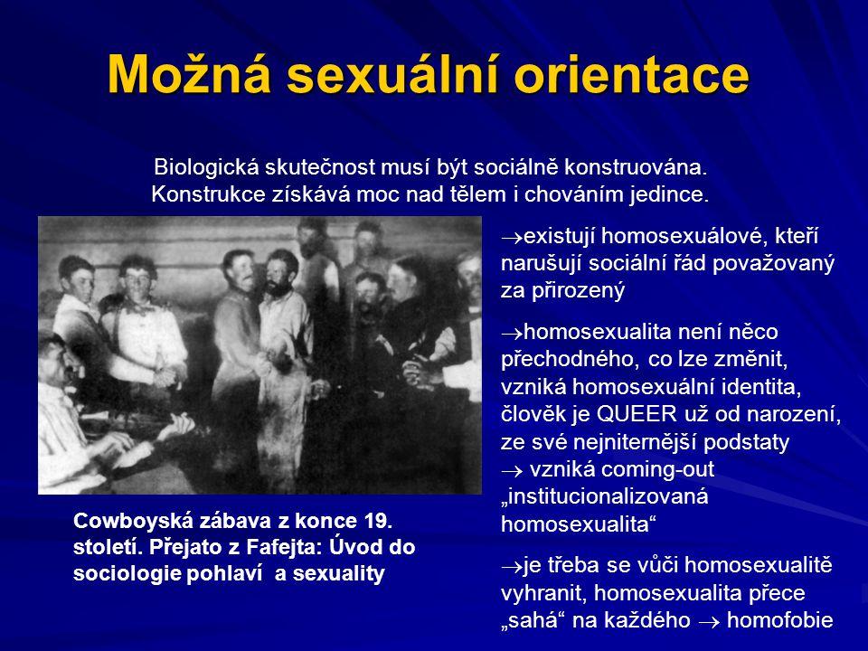 Možná sexuální orientace Biologická skutečnost musí být sociálně konstruována. Konstrukce získává moc nad tělem i chováním jedince.   existují homos