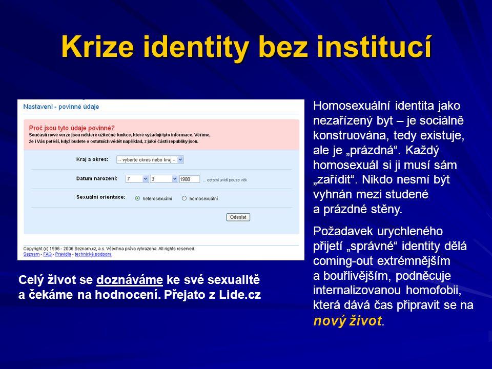 """Krize identity bez institucí Homosexuální identita jako nezařízený byt – je sociálně konstruována, tedy existuje, ale je """"prázdná"""". Každý homosexuál s"""
