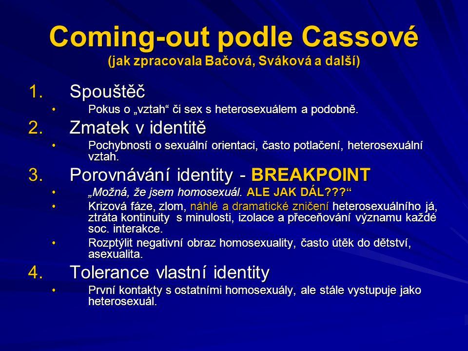 """Coming-out podle Cassové (jak zpracovala Bačová, Sváková a další) 5.""""Veřejný coming-out """"Jsem homosexuál a je to normální. → položeny základy budoucí homosexuální identity.""""Jsem homosexuál a je to normální. → položeny základy budoucí homosexuální identity."""