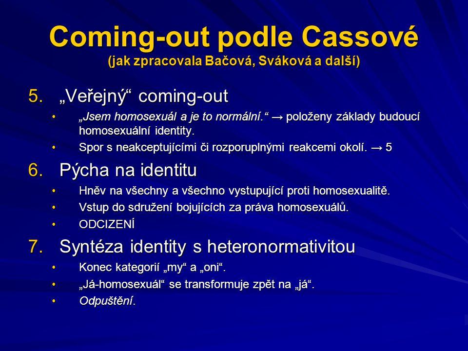 """Coming-out podle Cassové (jak zpracovala Bačová, Sváková a další) 5.""""Veřejný"""" coming-out """"Jsem homosexuál a je to normální."""" → položeny základy budouc"""