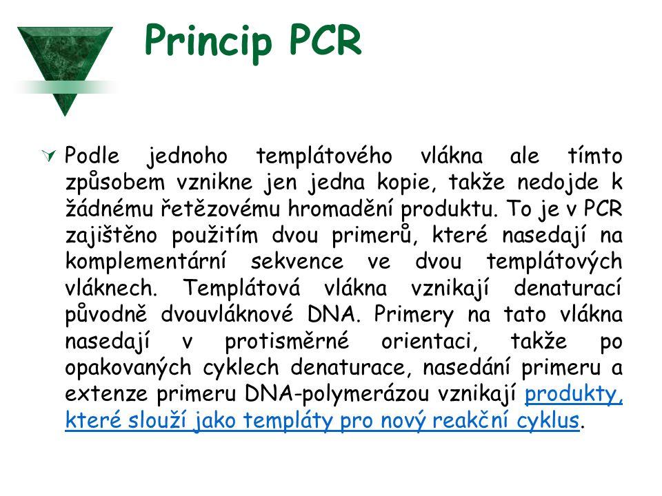 Princip PCR  Podle jednoho templátového vlákna ale tímto způsobem vznikne jen jedna kopie, takže nedojde k žádnému řetězovému hromadění produktu. To