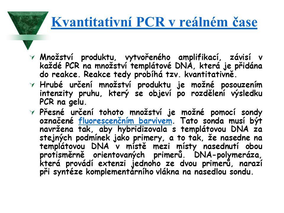 Kvantitativní PCR v reálném čase  Množství produktu, vytvořeného amplifikací, závisí v každé PCR na množství templátové DNA, která je přidána do reak