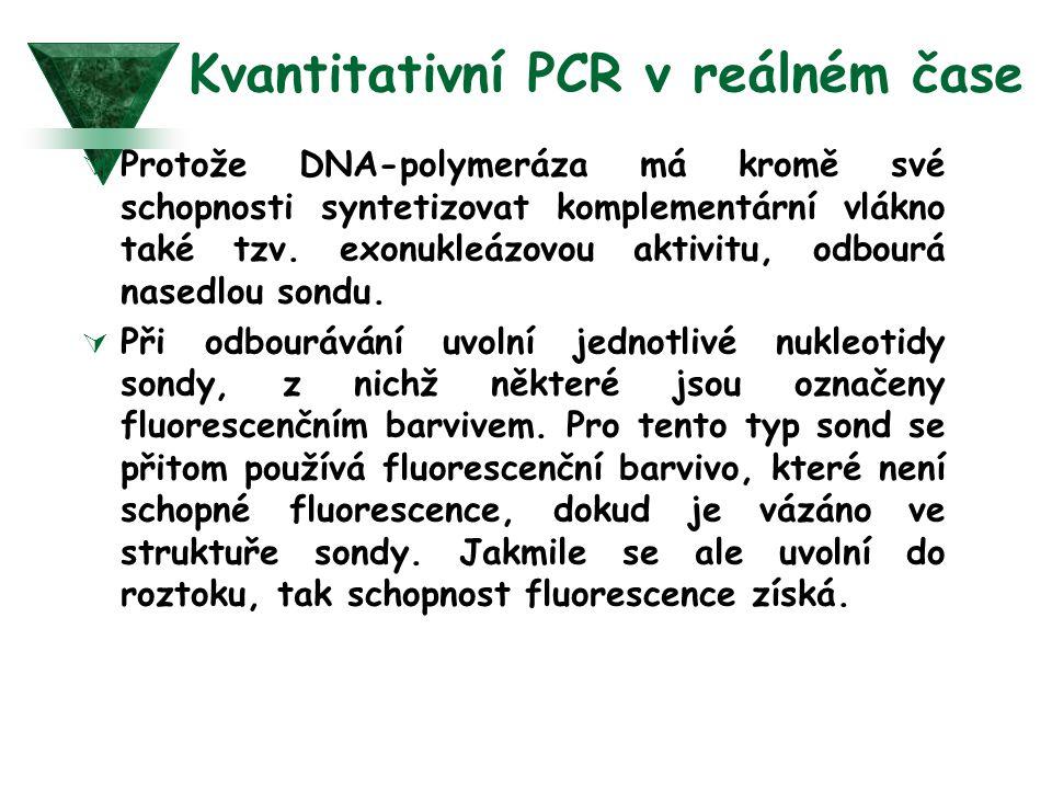 Kvantitativní PCR v reálném čase  Protože DNA-polymeráza má kromě své schopnosti syntetizovat komplementární vlákno také tzv. exonukleázovou aktivitu