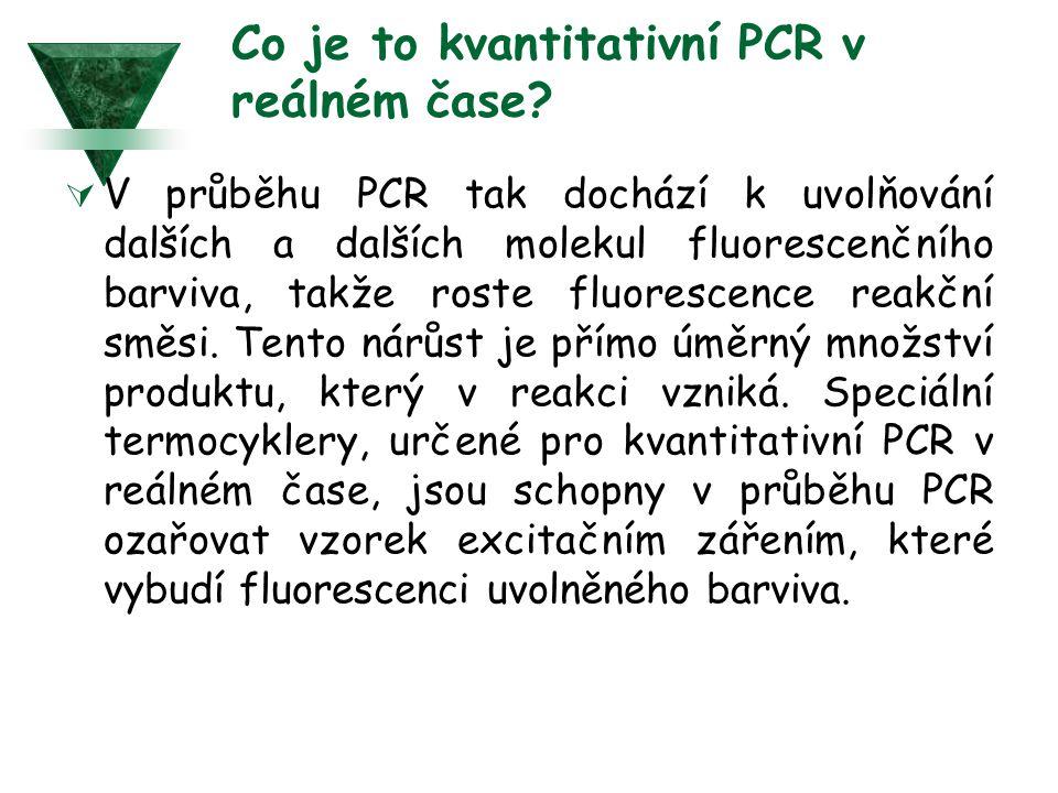 Co je to kvantitativní PCR v reálném čase?  V průběhu PCR tak dochází k uvolňování dalších a dalších molekul fluorescenčního barviva, takže roste flu