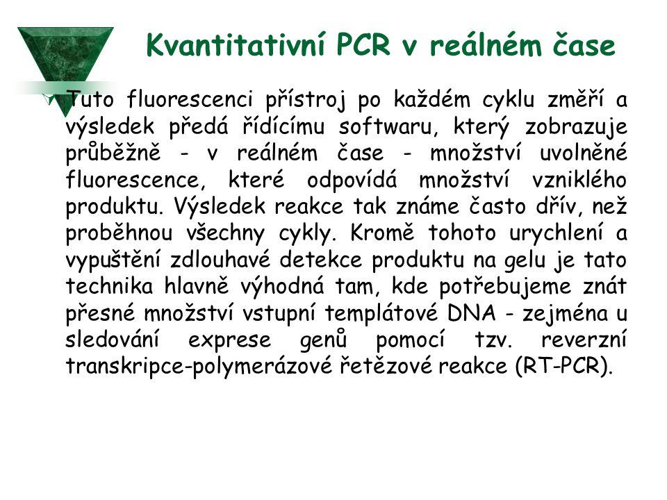 Kvantitativní PCR v reálném čase  Tuto fluorescenci přístroj po každém cyklu změří a výsledek předá řídícímu softwaru, který zobrazuje průběžně - v reálném čase - množství uvolněné fluorescence, které odpovídá množství vzniklého produktu.