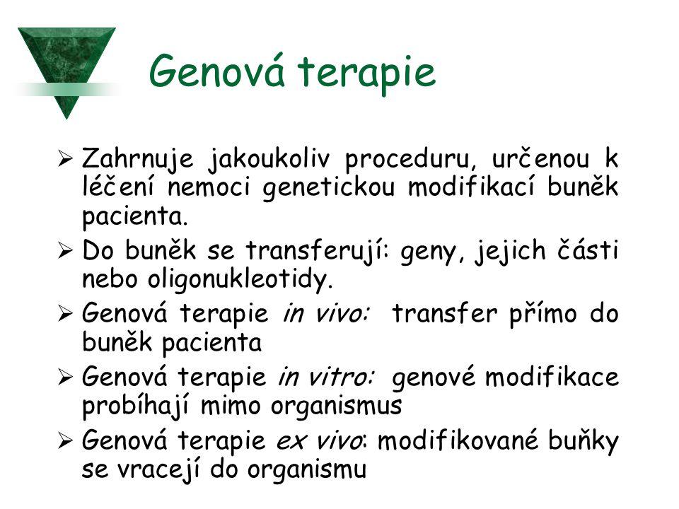 Genová terapie  Zahrnuje jakoukoliv proceduru, určenou k léčení nemoci genetickou modifikací buněk pacienta.  Do buněk se transferují: geny, jejich