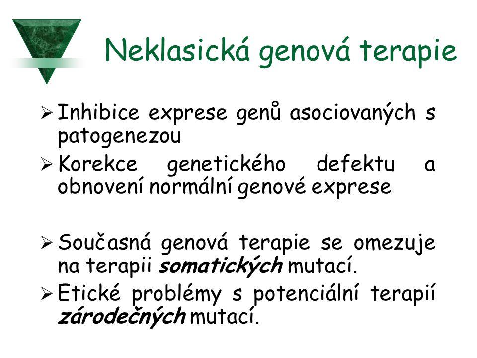 Neklasická genová terapie  Inhibice exprese genů asociovaných s patogenezou  Korekce genetického defektu a obnovení normální genové exprese  Součas