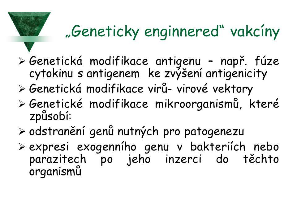 """""""Geneticky enginnered"""" vakcíny  Genetická modifikace antigenu – např. fúze cytokinu s antigenem ke zvýšení antigenicity  Genetická modifikace virů-"""