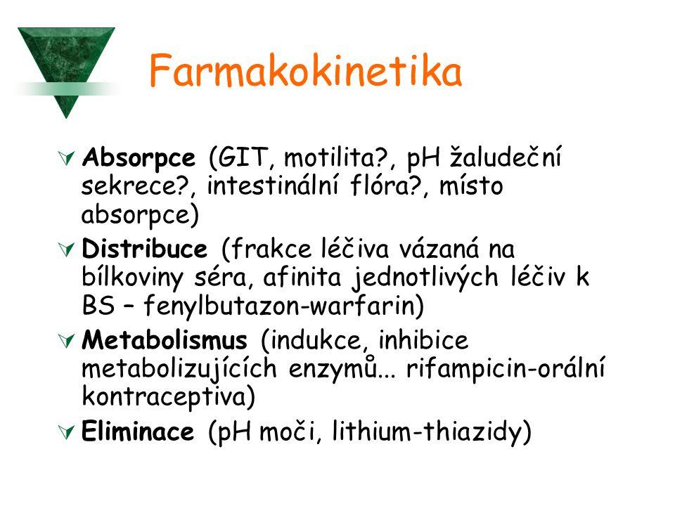 Farmakokinetika  Absorpce (GIT, motilita?, pH žaludeční sekrece?, intestinální flóra?, místo absorpce)  Distribuce (frakce léčiva vázaná na bílkoviny séra, afinita jednotlivých léčiv k BS – fenylbutazon-warfarin)  Metabolismus (indukce, inhibice metabolizujících enzymů...