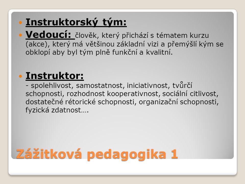 Zážitková pedagogika 1 Instruktorský tým: Vedoucí: člověk, který přichází s tématem kurzu (akce), který má většinou základní vizi a přemýšlí kým se ob