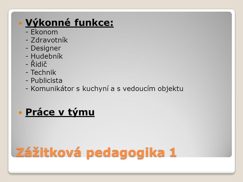 Zážitková pedagogika 1 Výkonné funkce: - Ekonom - Zdravotník - Designer - Hudebník - Řidič - Technik - Publicista - Komunikátor s kuchyní a s vedoucím