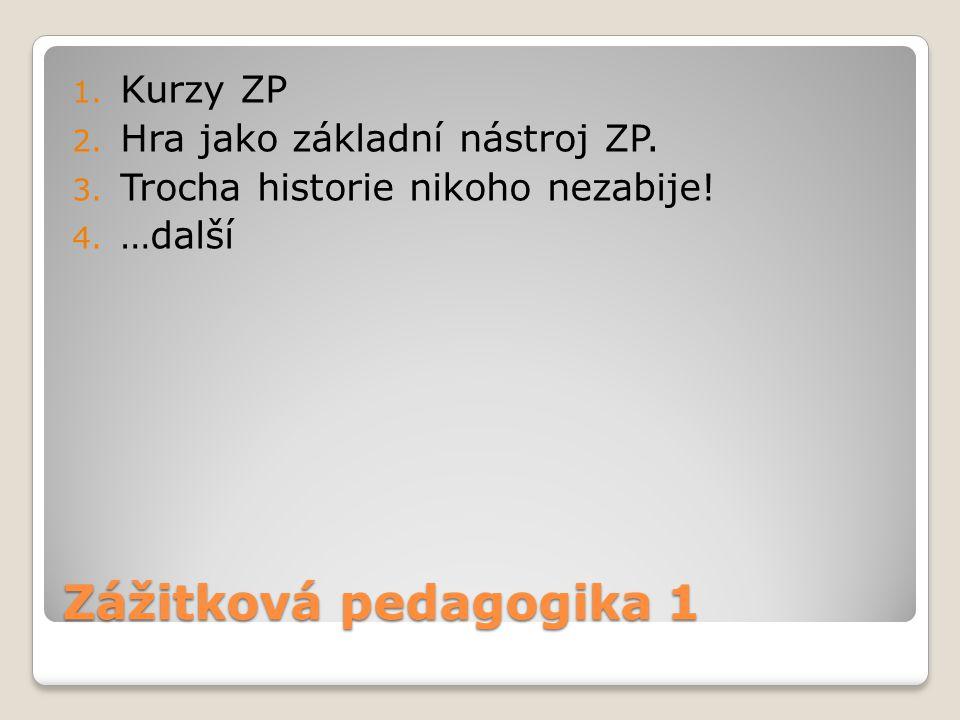 Zážitková pedagogika 1 1. Kurzy ZP 2. Hra jako základní nástroj ZP. 3. Trocha historie nikoho nezabije! 4. …další
