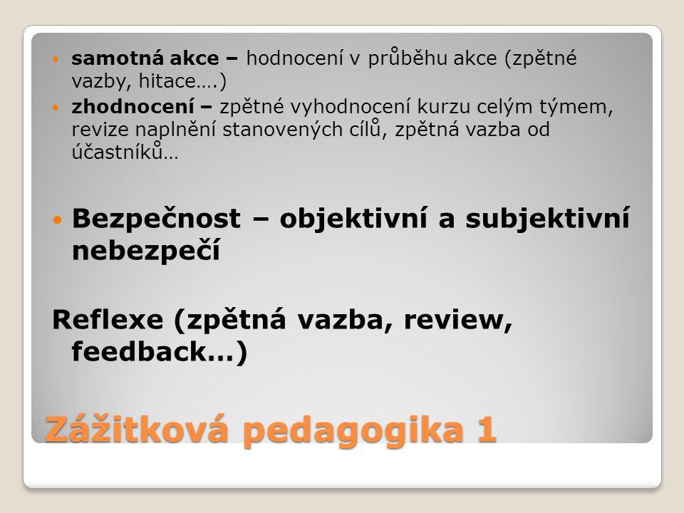 Zážitková pedagogika 1 samotná akce – hodnocení v průběhu akce (zpětné vazby, hitace….) zhodnocení – zpětné vyhodnocení kurzu celým týmem, revize napl