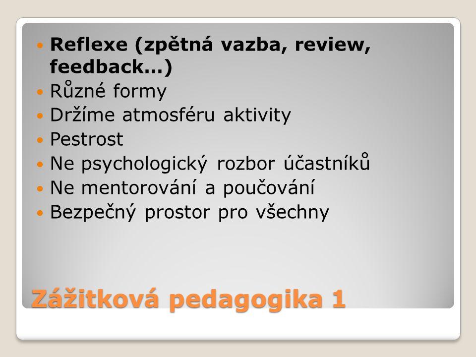 Zážitková pedagogika 1 Reflexe (zpětná vazba, review, feedback…) Různé formy Držíme atmosféru aktivity Pestrost Ne psychologický rozbor účastníků Ne m