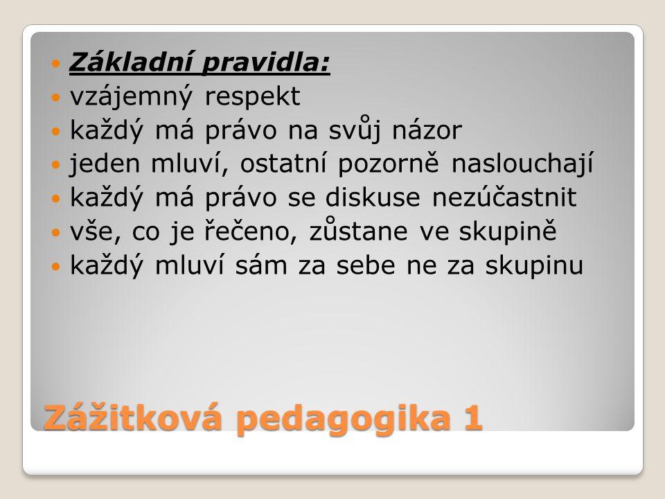 Zážitková pedagogika 1 Základní pravidla: vzájemný respekt každý má právo na svůj názor jeden mluví, ostatní pozorně naslouchají každý má právo se dis