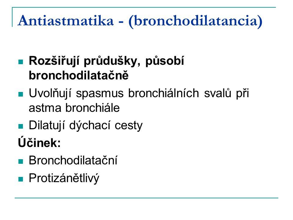 Antiastmatika - (bronchodilatancia) Rozšiřují průdušky, působí bronchodilatačně Uvolňují spasmus bronchiálních svalů při astma bronchiále Dilatují dýchací cesty Účinek: Bronchodilatační Protizánětlivý