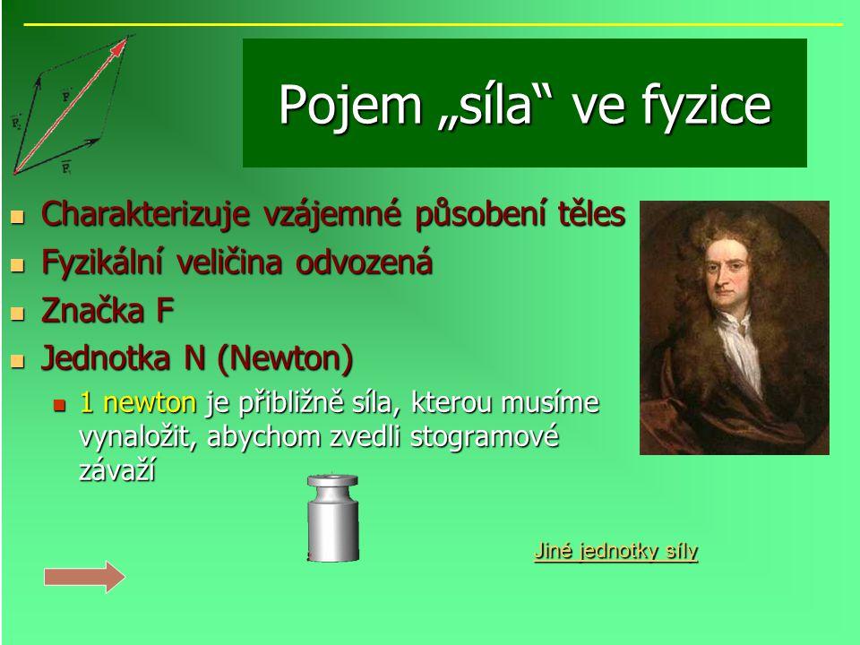 """Pojem """"síla"""" ve fyzice Charakterizuje vzájemné působení těles Charakterizuje vzájemné působení těles Fyzikální veličina odvozená Fyzikální veličina od"""
