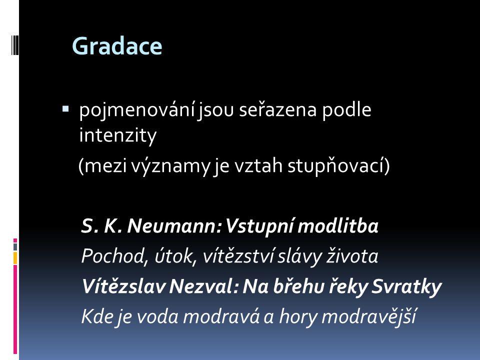 Antiklimax  opak gradace (sestupná intenzita) Jiří Wolker: Pokora Stanu se menším a ještě menším, až budu nejmenším na celém světě.