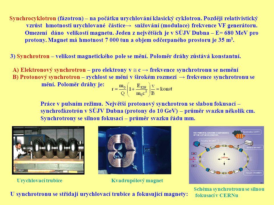 Synchrocyklotron (fázotron) – na počátku urychlování klasický cyklotron. Později relativistický vzrůst hmotnosti urychlované částice→ snižování (modul