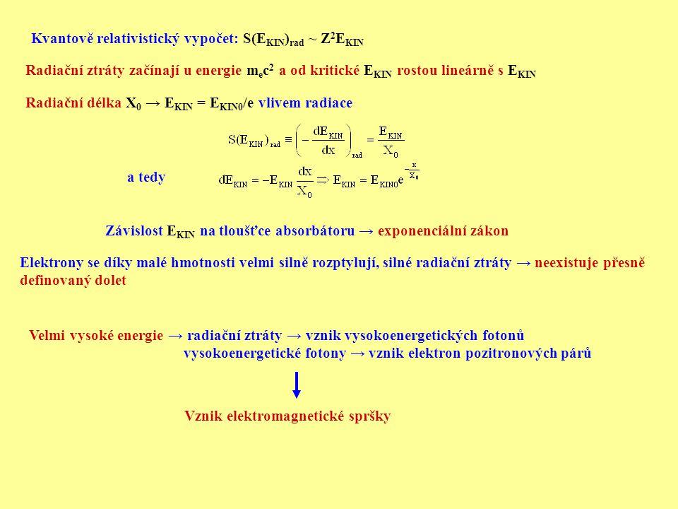 Radiační délka X 0 → E KIN = E KIN0 /e vlivem radiace a tedy Závislost E KIN na tloušťce absorbátoru → exponenciální zákon Elektrony se díky malé hmot